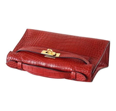 Exquisite Alligator Handbag, Alligator Evening Bag-Red-Handle