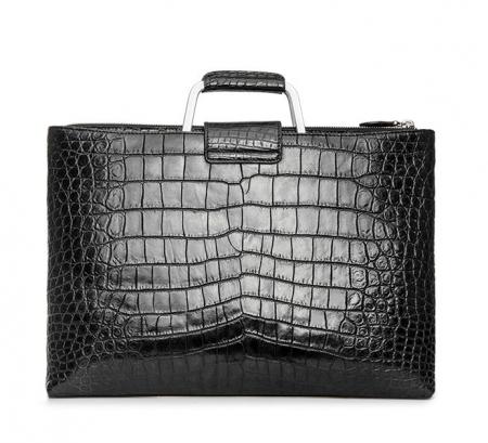 Fashion Alligator Briefcase Shoulder Cross-body Laptop Business Bag for Men-Back