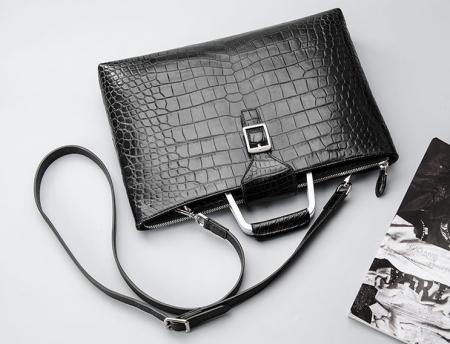 Fashion Alligator Briefcase Shoulder Cross-body Laptop Business Bag for Men-Black-1