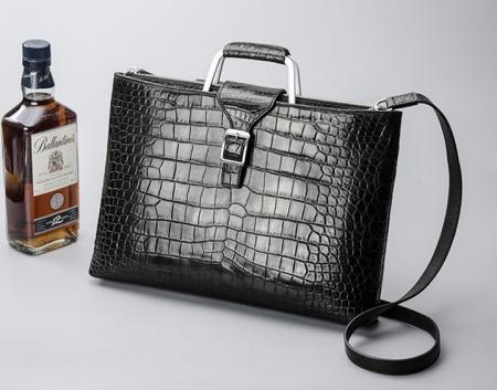 Fashion Alligator Briefcase Shoulder Cross-body Laptop Business Bag for Men-Black