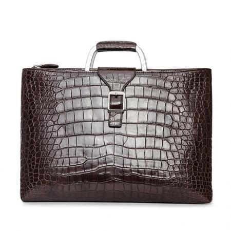 Fashion Alligator Briefcase Shoulder Cross-body Laptop Business Bag for Men-Brown