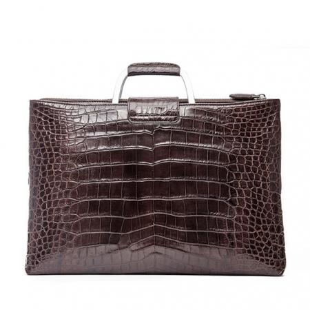 Fashion Alligator Briefcase Shoulder Cross-body Laptop Business Bag for Men-Brown-Back