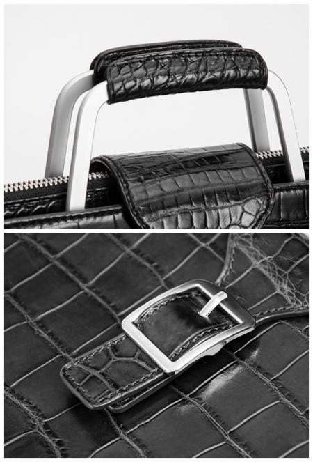 Fashion Alligator Briefcase Shoulder Cross-body Laptop Business Bag for Men-Details