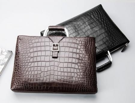 Fashion Alligator Briefcase Shoulder Cross-body Laptop Business Bag for Men-Display