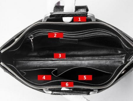 Fashion Alligator Briefcase Shoulder Cross-body Laptop Business Bag for Men-Inside