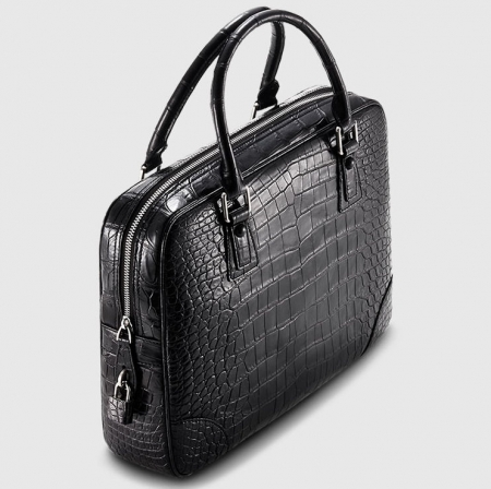 Genuine Alligator Leather Briefcase Laptop Bag for Men-Black-1