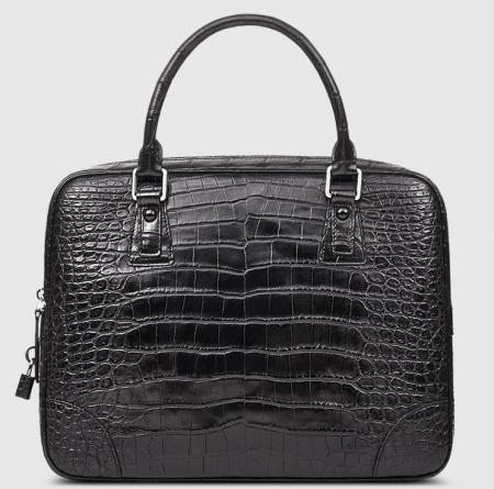 Genuine Alligator Leather Briefcase Laptop Bag for Men-Black