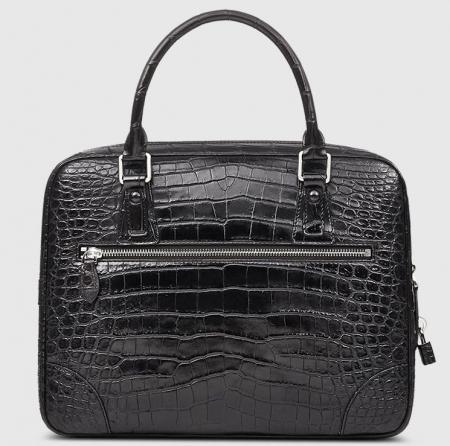 Genuine Alligator Leather Briefcase Laptop Bag for Men-Black-Back