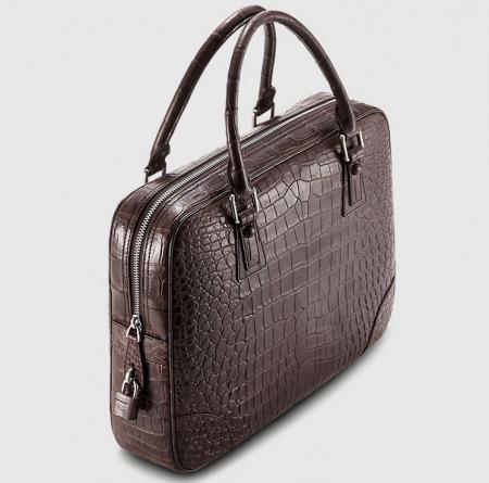 Genuine Alligator Leather Briefcase Laptop Bag for Men-Brown-1