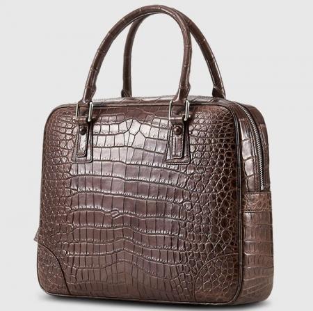 Genuine Alligator Leather Briefcase Laptop Bag for Men-Brown-2