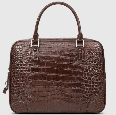 Genuine Alligator Leather Briefcase Laptop Bag for Men-Brown