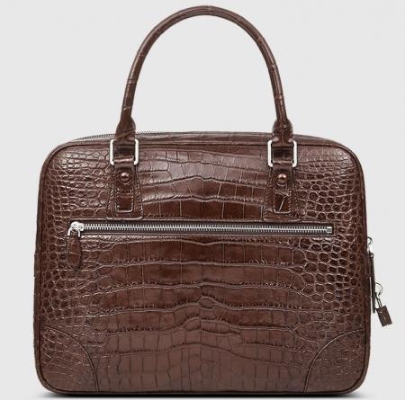 Genuine Alligator Leather Briefcase Laptop Bag for Men-Brown-Back
