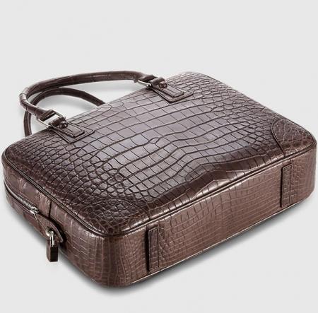 Genuine Alligator Leather Briefcase Laptop Bag for Men-Brown-Bottom