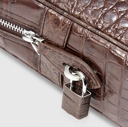 Genuine Alligator Leather Briefcase Laptop Bag for Men-Brown-Details