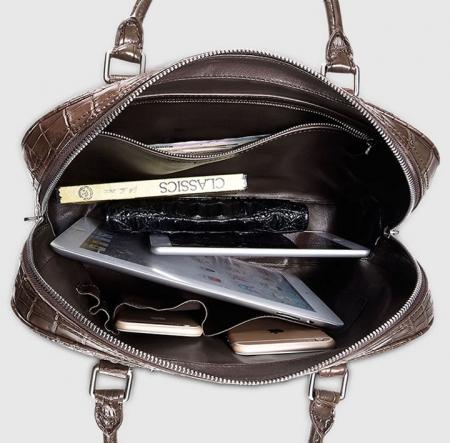 Genuine Alligator Leather Briefcase Laptop Bag for Men-Brown-Inside