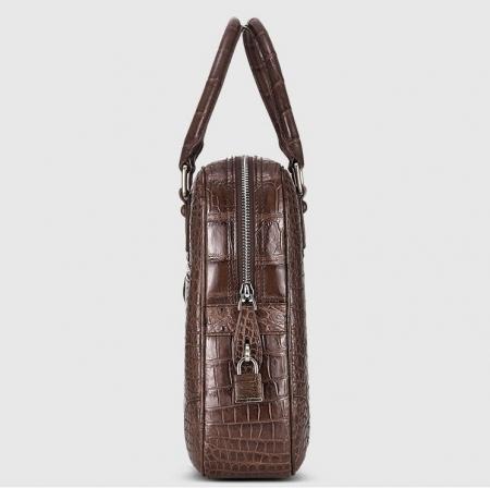 Genuine Alligator Leather Briefcase Laptop Bag for Men-Brown-Side