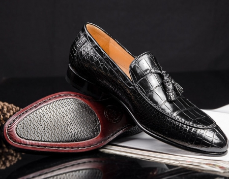 Genuine Alligator Skin Slip-on Loafer Dress Shoes for Men-1