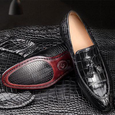 Genuine Alligator Skin Slip-on Loafer Dress Shoes for Men