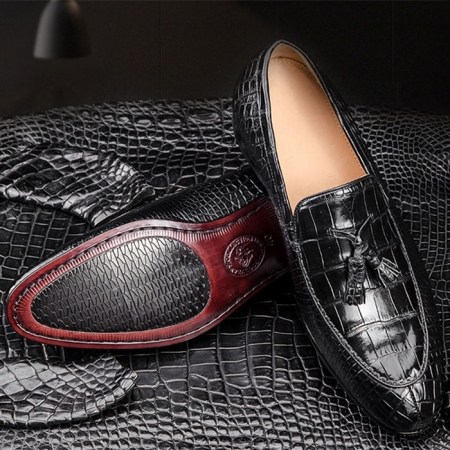 Genuine Alligator Skin Slip-on Loafer Dress Shoes for Men