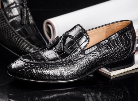 Genuine Alligator Skin Slip-on Loafer Dress Shoes for Men-Side