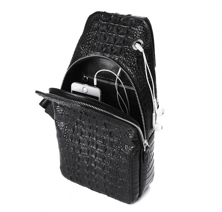 Genuine Crocodile Sling Backpack One Strap Travel Sport Crossbody Bag-Inside
