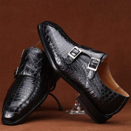 Handcrafted Alligator Leather Men's Classic Double Monk Strap Dress Shoes-Display