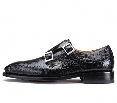 Handcrafted Alligator Leather Men's Classic Double Monk Strap Dress Shoes-Side