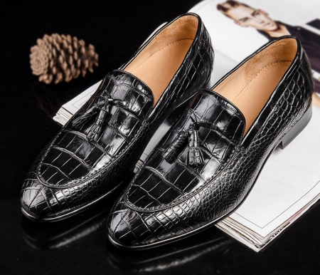 Mens Genuine Alligator Skin Slip-on Loafer Dress Shoes