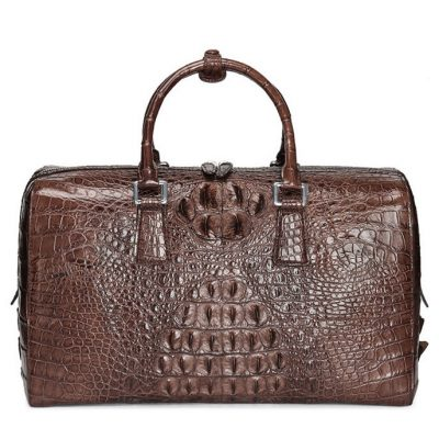 Mens Zipper Closure Crocodile Leather Duffel Bag