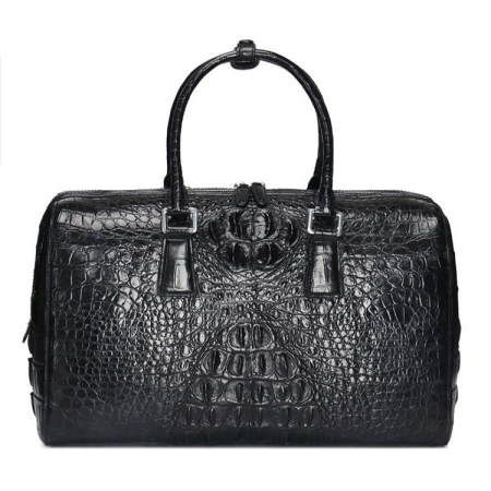 Mens Zipper Closure Crocodile Leather Duffel Bag-Black