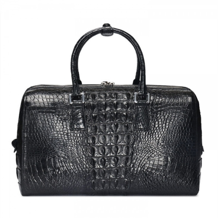 Mens Zipper Closure Crocodile Leather Duffel Bag-Black-Back