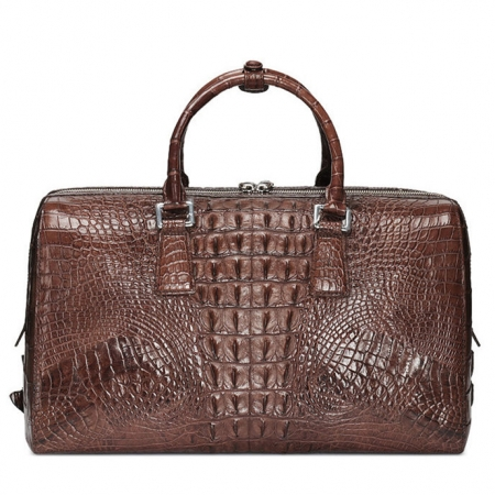 Mens Zipper Closure Crocodile Leather Duffel Bag-Brown