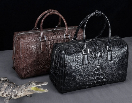 Mens Zipper Closure Crocodile Leather Duffel Bags