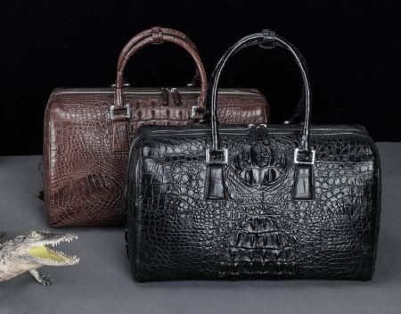 Mens Zipper Closure Crocodile Leather Duffel Bags-Display