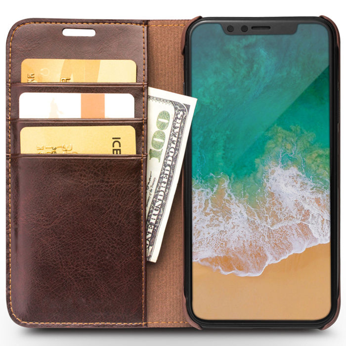 The book wallet iPhone X vintage leather cover