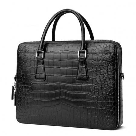 Top Alligator Leather Briefcase Shoulder Laptop Business Bag For Men-Black