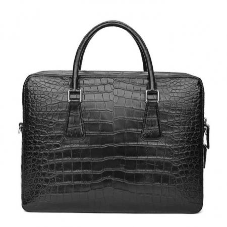 Top Alligator Leather Briefcase Shoulder Laptop Business Bag For Men-Black-Back
