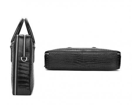 Top Alligator Leather Briefcase Shoulder Laptop Business Bag For Men-Black-Details
