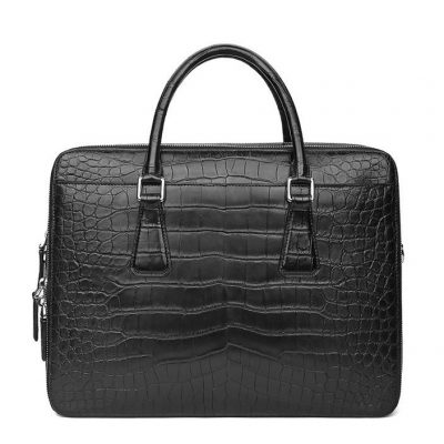 Top Alligator Leather Briefcase Shoulder Laptop Business Bag For Men-Black-Front