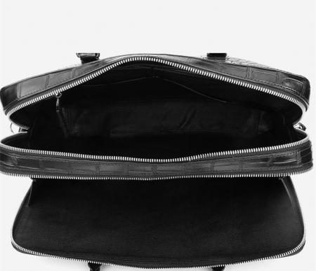 Top Alligator Leather Briefcase Shoulder Laptop Business Bag For Men-Black-Inside