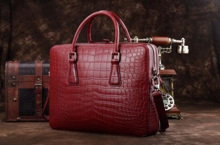 Top Alligator Leather Briefcase Shoulder Laptop Business Bag For Men-Red-Back-Display