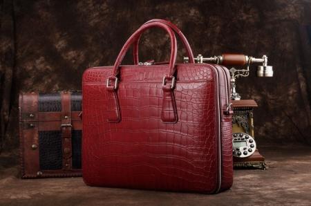 Top Alligator Leather Briefcase Shoulder Laptop Business Bag For Men-Red-Front-Display
