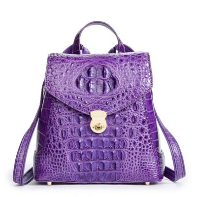 Women's Casual Crocodile Leather Backpack Daypack for Ladies