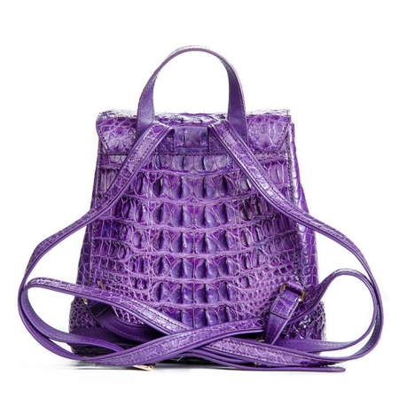 Women's Casual Crocodile Leather Backpack Daypack for Ladies-Back