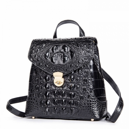 Women's Casual Crocodile Leather Backpack Daypack for Ladies-Black