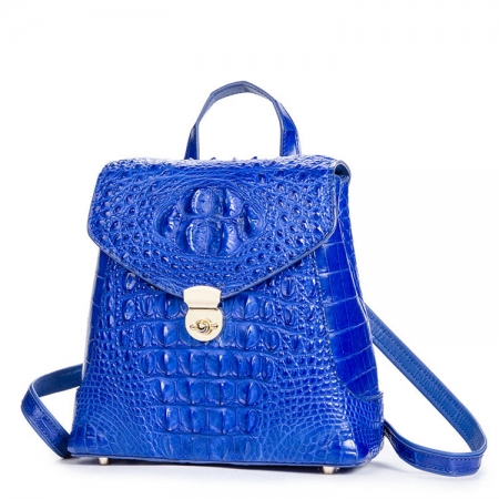 Women's Casual Crocodile Leather Backpack Daypack for Ladies-Blue