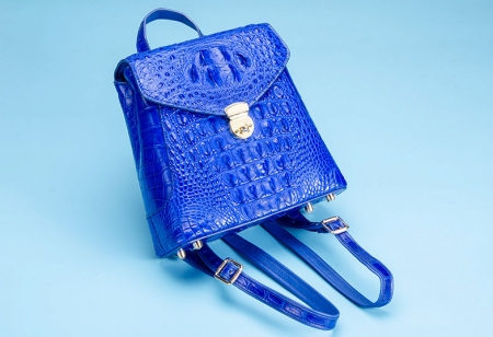 Women's Casual Crocodile Leather Backpack Daypack for Ladies-Blue-Display