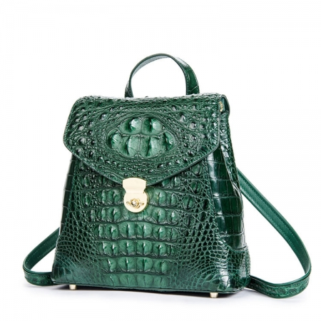 Women's Casual Crocodile Leather Backpack Daypack for Ladies-Green