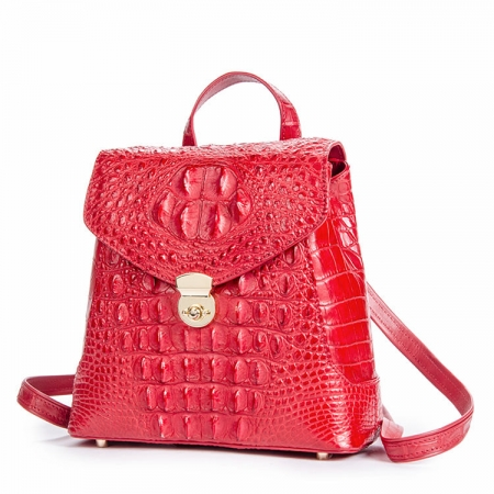Women's Casual Crocodile Leather Backpack Daypack for Ladies-Red