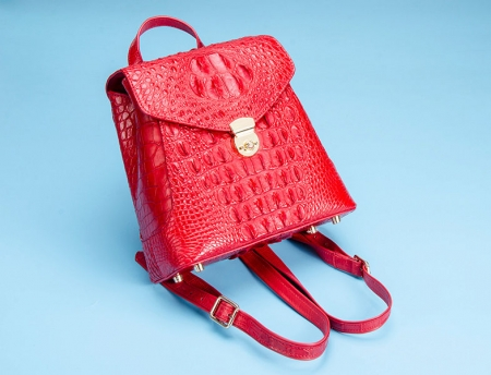 Women's Casual Crocodile Leather Backpack Daypack for Ladies-Red-Display